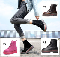2018 Autumn and winter Tooling boots Genuine leather Martin boots Fashion casual ladies shoes Women shoes Ankle Boots waterproof Chunky Heel