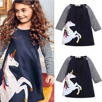 Baby Girls A- line Dresses Navy White Striped Patchwork Color...