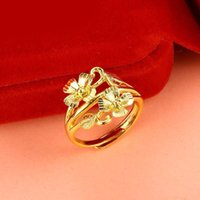 MGFam (247R) Flower Rings ( adjusted ) Jewelry For Women 24k...