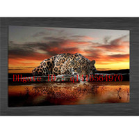 Animali Leopard Feline Reflection Black -1, Stampe su tela Wall Art Olio su tela Home Decor 16x24 12x18 (Senza cornice / Con cornice)