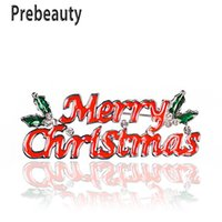 Prebeauty 에나멜 메리 크리스마스 브로치 핀 절묘한 편지 레드 그린 브로치 징글 벨 부츠 매력 크리스탈 스톤 크리스마스 선물 선물