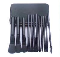 Dropshipping pinceles de maquillaje conjuntos cosméticos cepillo 12pcs colores brillantes negro maquillaje pincel tornillo herramientas Contour caja al por menor