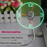Lâminas de ventilador macio de PVC laptop Gadget Mini ventilador USB Tempo flexível LED ventilador de relógio com luz LED