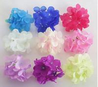 NOVA 100 Pçs / lote Hortênsia Artificial Cabeças de Flores De Seda Decoração para Festa de Casamento Banquete Para Casa Flores Decorativas