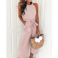 Rompers Bow Tie Sleeveless Striped Wide Leg Jumpsuits Summer...