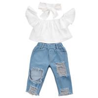 edd0f3c68aed9 New Fashion Children Girls Clothes Off shoulder Crop Tops Wh..