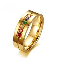 Rainbow Cubic Zirconia Gay Wedding Rings for Women Men 6MM G...