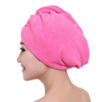 Fashion Women Quickly Dry Hair Hat Microfiber Solid Color Gi...