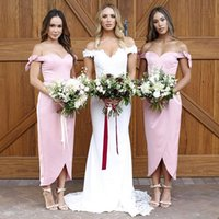 Hot Sales Pink Off Shoulder Bridesmaid Dresses 2018 Summer B...