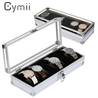 Cymii Watch Box Case 6 Grille Insérer Slots Bijoux Montres Affichage Boîte De Rangement Cas En Aluminium Montre Bijoux Décoration