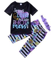 Xmas Halloween Kids 3pcs Set Newborn Baby Boys Niñas Trajes de manga corta Ropa de la letra T + Pantalones de rayas de bebé + DIEADA DE NIÑOS 3PCS Conjuntos