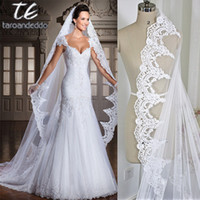 2019 new real photos White Ivory 3M Cathedral Length Lace Ed...
