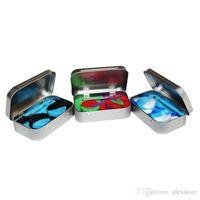 4 in 1 주석 실리콘 저장 키트 2pcs 5ml 실리콘 왁스 컨테이너 오일 Jar Base 실버 Dabber 도구 금속 상자 케이스 휴대용