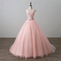 2018 New Arrived Real Photo Backless Lace Ball Gown Quincean...
