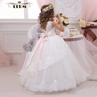 Compre árabe 2019 Floral Lace Flower Girl Vestidos De Baile