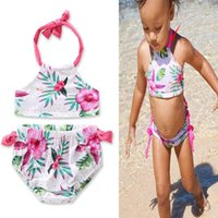 kids girls Swimwear Flower printed Toddler Baby summer beach...