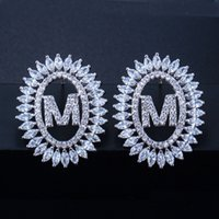 high grade CZ diamond letter earrings rhodium plated silver ...