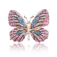 Joyería nueva OneckOha mariposa de la manera del Rhinestone colorido broche broches de aleación esmaltada Animal Pin accesorios de vestir el envío libre
