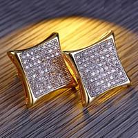 Mens Kite 130 Stones CZ Oro Bling Bling Orecchini quadrati personalizzati Micro Pave orecchini Hip Hop Stud orecchino gioielli Hip Hop