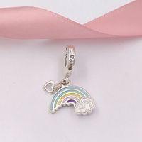 Authentique 925 perles d'argent sterling arc-en-ciel d'amour Pendentif Charm Charms Convient aux bijoux de style européen Pandora Bracelets Collier 797016frmx