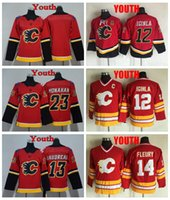 2018 Jugend Calgary Flames Hockey Jersey Kinder 12 Jarome Iginla 14 Theorden Fleury 13 Johnny Gaudreau 23 Sean Monahan Jungen Leere Hockey Hemden