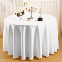 White Wedding Table Cloths Polyester Round Tablecloth Machin...