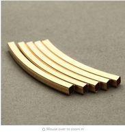 30 teile / los 40mm Gold Farbe Quadrat Gebogene Rohrverbinder Metall Kupfer Spacer Perlen für DIY Armband Schmuck Zubehör F2880