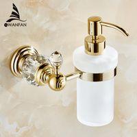 Distributeurs de savon liquide Distributeur de savon de couleur or de luxe mural avec bouteille en verre givré Produits de salle de bains HK-38