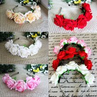 Girl Floral Crown Rose Flower Headband Hairband Wedding Hair...