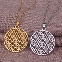 Duas cores da flor da vida colar para as mulheres new fashion prata ouro geométrica longo boho choker colar