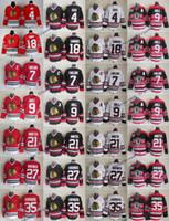 Vintage Chicago Blackhawks 9 Hull Bobby 21 Stan Mikita 35 Tony Esposito 4 Orr 7 Chris Chelios 18 Savard 27 Jeremy Roenick 75ème Jersey de hockey