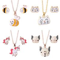 Animal bijoux chaîne chaîne enfants dessin animé cheval chien bee collier boucles d'oreilles ensembles pour filles cadeaux en gros
