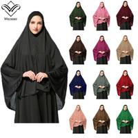 Islamischer Hijab Kurzer Abayas für Frauen Muslimische türkische islamische Kleidung mit Kopfbedeckung Headscarf Damen Lose Robe Top Qualität Islam Hijab