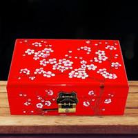 Scatole portagioie di lusso per matrimoni Design Prugna fiore Vendo legno Velluto rosso Contenitori per gioielli Scatole per imballaggio di gioielli Scatole regalo
