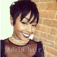 Ucuz Kısa Pixie Kesim Peruk ile Bebek Saç Dantel Ön Düz İnsan Saç Peruk Afrika Saç Kesimi Tarzı Brezilyalı Bayanlar Siyah Kadınlar Için Peruk