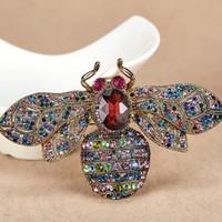 12 unids / lote gran tamaño vendimia broches de abeja para mujeres regalos del partido colorido Rhinestone pin broche Hijab accesorios big broch insecto