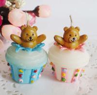 FEIS оптовые Медведь Торт Свеча Творческий Дом украшения день рождения Новорожденный Ребенок день рождения праздничные атрибуты бездымного свеча сувениры