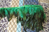 Spedizione gratuita 10 yards / lot gallo verde Coque piuma taglio turchese coda di Gallo piuma frangia per cucire rifornimento del partito