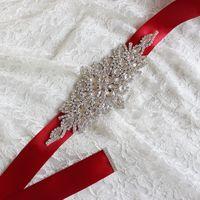 Imagem real vestidos de casamento faixa de cristal cintos de cristal sash do bairro da noite Princess handmade barato