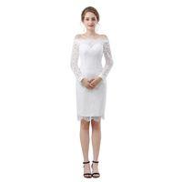Branco Manga Comprida Sereia Vestidos de Baile 2018 New Jewel Pescoço Cheia Do Laço Ilusão Keen Comprimento Formal Evening Vestido de Festa Vestido 17-6647