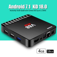 V88 android tv box 4GB RAM 16GB ROM Rockchip processor android7.1 os Quad core CPU 2.4G WiFi + Lan android box полностью загружен