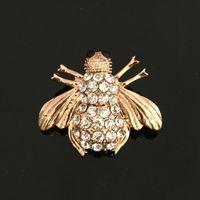 Goldrhinestonekristall-nette Bieneninsekt-Tierfliegenbroschen-Räumnadeln für Frauen / Männer kleiden Modeschmuck