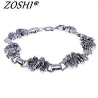 ZOSHI мужчины браслет серебро из нержавеющей стали браслеты браслеты мужской аксессуар подвески панк Дракон хип-хоп партия рок ювелирные изделия