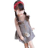 vestido del estilo de Inglaterra niñas niños manga larga tops + honda falsa a cuadros de calidad 2 piezas de ropa de niños vestidos de celosía del arnés