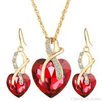 Collier Eerring Collier Ensembles de bijoux 4 Color Cœur Crystal Pendentif Alliage Accessoire Plaqué Or Chaîne en métal pour femme Cadeau de fête de mariage