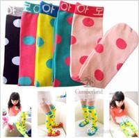 Katoen Meisjes Kous Prinses Hoge Sokken Snoep Kleur Dot Baby Knie Baby Schoenen Tight Legging Sokken Sokken Kinderen Chevron Been Warmer To429