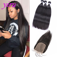 Indian Lace Closure With Bundles 8- 28inch Natural Color Stra...