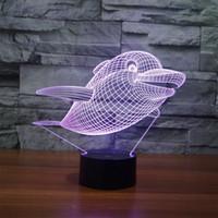 Dekoration 3D LED Nachtlicht Kinderzimmer 7 Farbe Beleuchtung Delphin Beruhigende Kinderzimmer Lampe # R54
