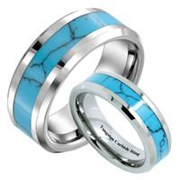 8mm Hommes Femmes Tungstène Bleu Turquoise Incrustation Bande De Mariage Infinity Hommes Promise Anneaux Vintage Bijoux