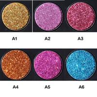 DHL libre HANDAIYAN Marca Maquillaje 6 colores Brillo a prueba de agua Brillo metálico Sombra de ojos Paleta Sombra de ojos brillante Polvo de pigmento de diamante